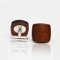Dřevěné knoflíčky Balance - mahagon/černý okraj