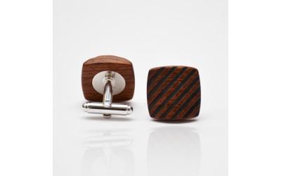 Dřevěné knoflíčky Balance - mahagon šrafy