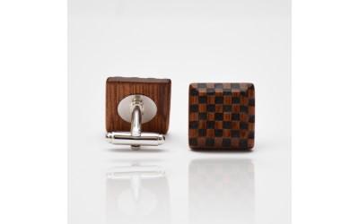 Dřevěné knoflíčky Elegance - mahagon šach