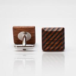 Dřevěné knoflíčky Elegance - mahagon šrafy