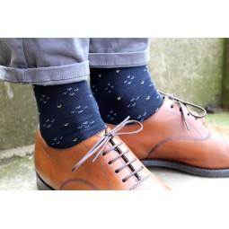 Ponožky s monogramem - tm. modré s šipkami