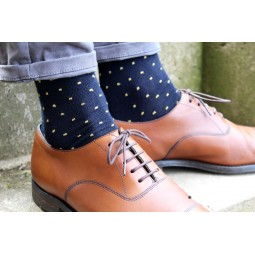 Ponožky s monogramem - tm. modré s puntíky